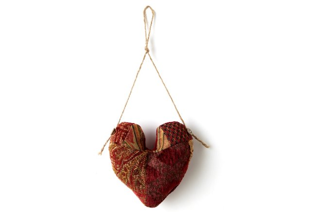 Patchwork Heart Ornament, Red