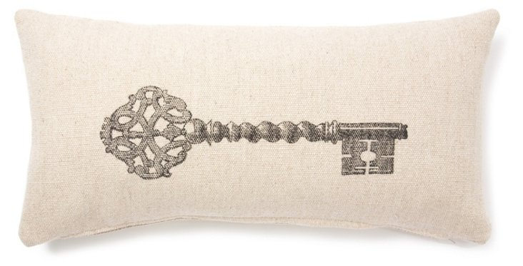 Key 12x24 Linen-Blended Pillow, Sand