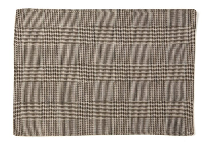 S/4 Glen Plaid Place Mats, Brown