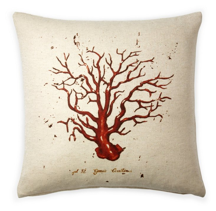 Coral 20x20 Cotton Pillow, Red