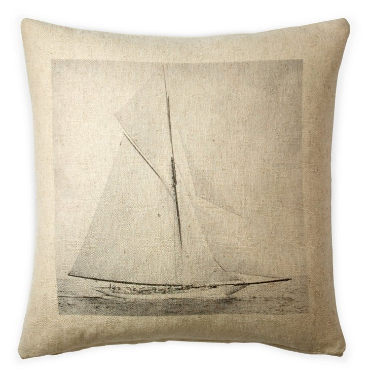Sailboat 20x20 Cotton Pillow, Natural