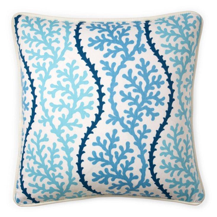 Coral 20x20 Cotton Pillow, Blue