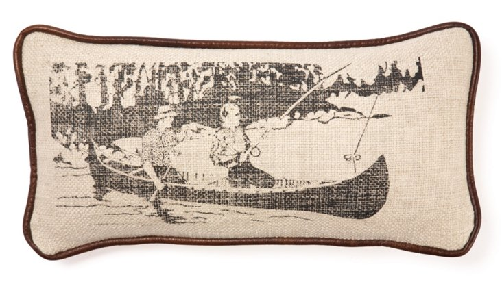 Fishing 12x24 Linen-Blend Pillow, Sand