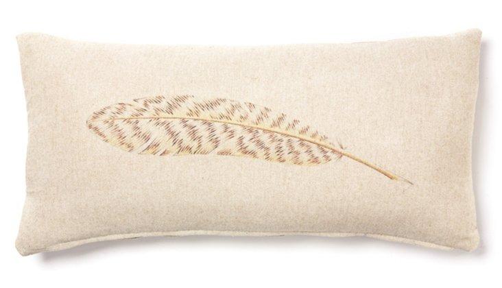 Feather 12x24 Linen-Blend Pillow, Sand