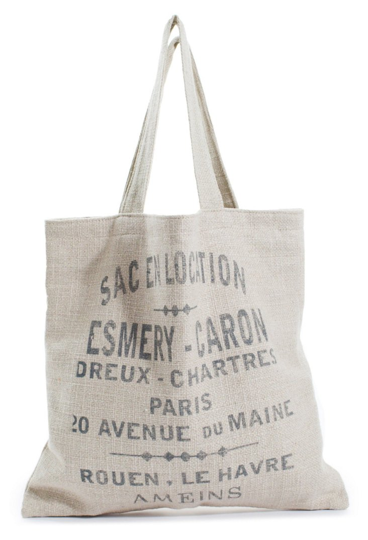 Printed French Words Market Tote, Sand