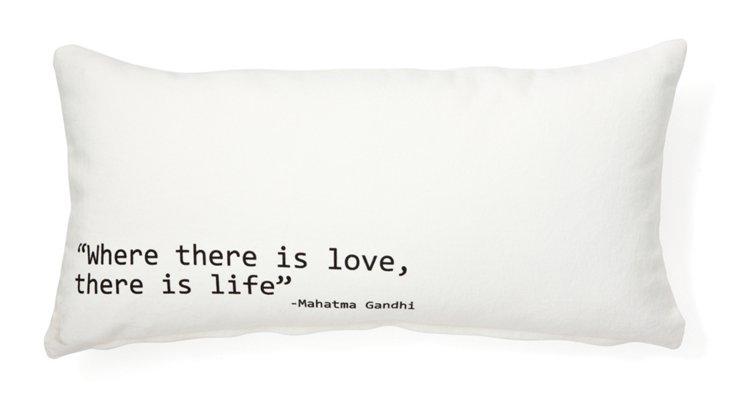 "Gandhi ""Love & Life"" 12x24 Pillow, White"