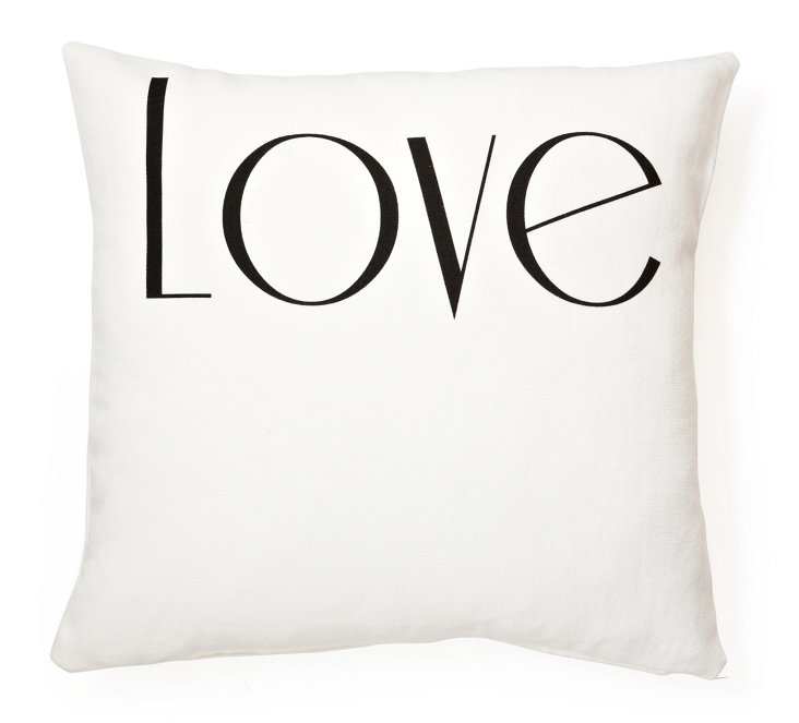 """Love"" 20x20 Linen-Blended Pillow, White"