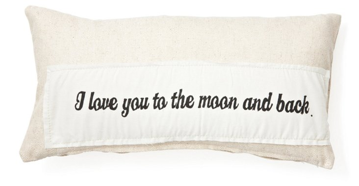 """Moon & Back"" 10x20 Pillow, Natural"