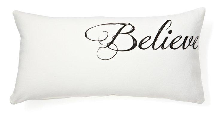 """""""Believe"""" 12x24 Cotton Pillow, White"""