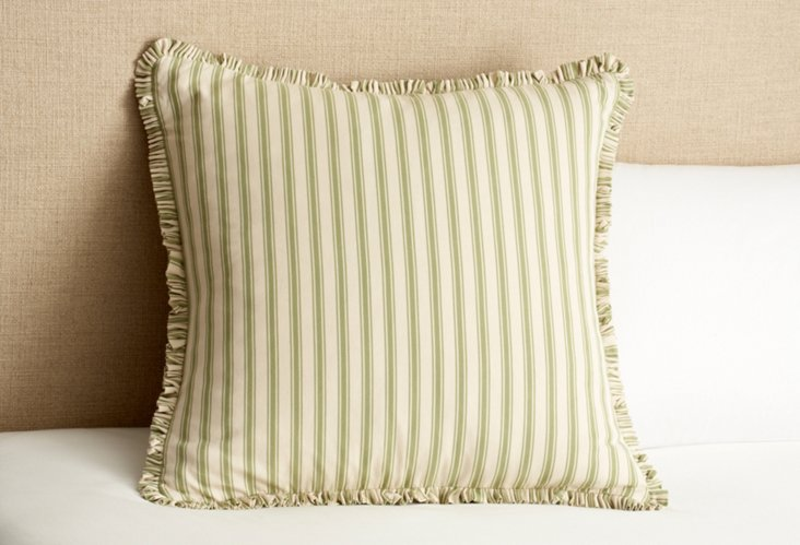 Ticking Euro Pillow, Green