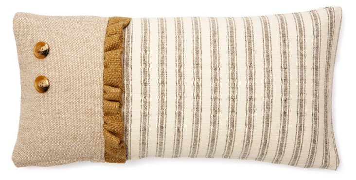 Ruffle 10x20 Cotton Pillow, Brown