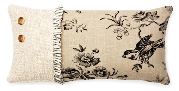 Bird Ticking Ruffle 10x20 Pillow, Black