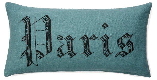 Paris 10x20 Cotton Pillow, Blue
