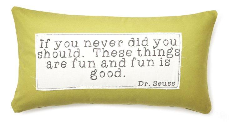 """Dr. Seuss """"Fun"""" 9x19 Pillow, Green"""