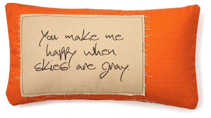 """""""Happy"""" 12x24 Pillow, Orange"""