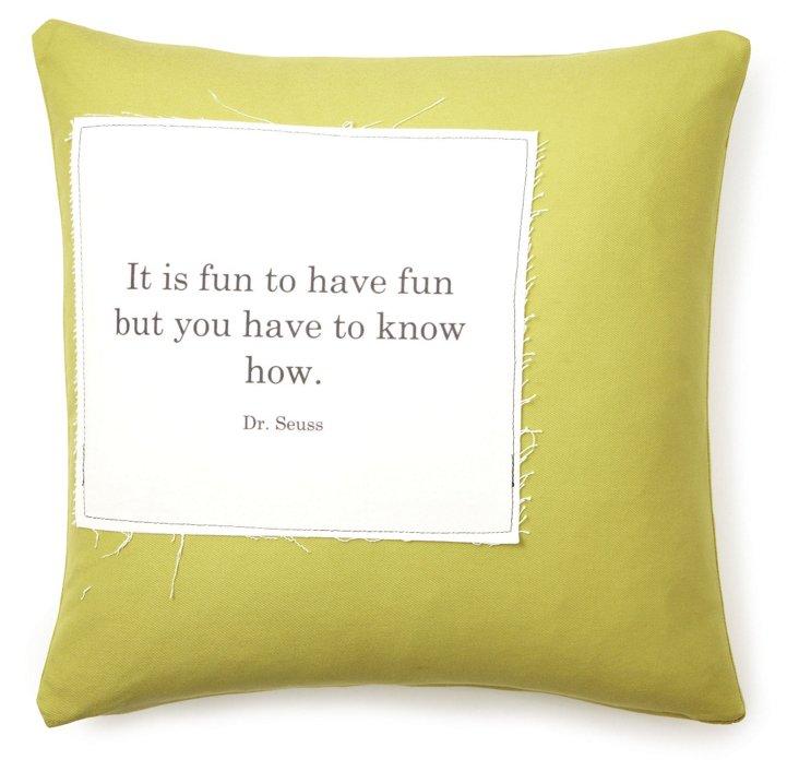 """Dr. Seuss """"Fun"""" 20x20 Pillow, Green"""