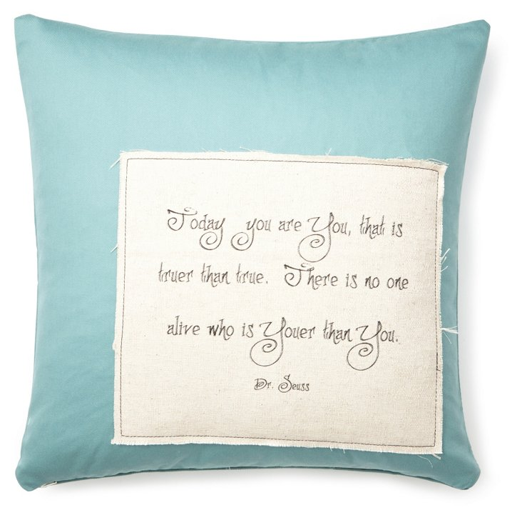 "Dr. Seuss ""You"" 20x20 Pillow, Blue"