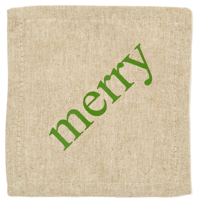 S/6 Merry Cocktail Napkins, Natural