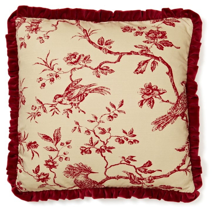 Toile 20x20 Cotton Pillow, Red