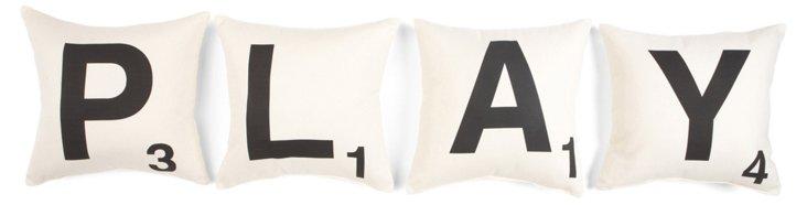 """S/4 """"Play"""" 16x16 Cotton Pillows, White"""