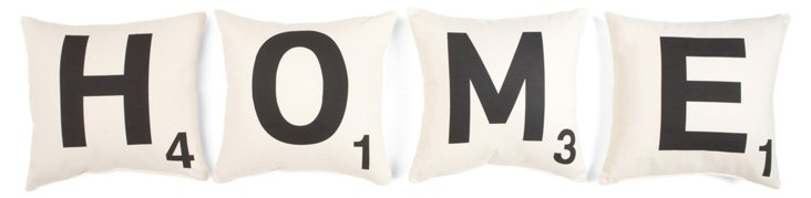 "S/4 ""Home"" 16x16 Cotton Pillows, White"