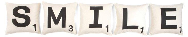 """S/5 """"Smile"""" 16x16 Pillows, White"""