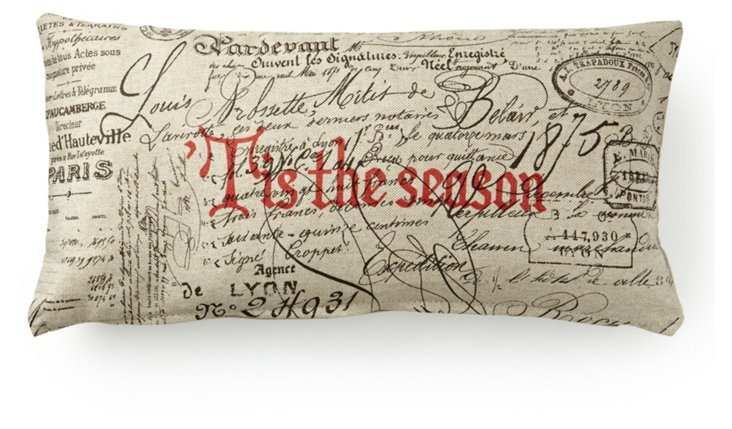 Tis The Season 12x24 Pillow, Natural/Red