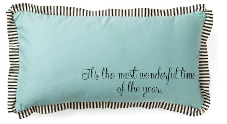 """Wonderful Time"" 12x24 Pillow, Blue"