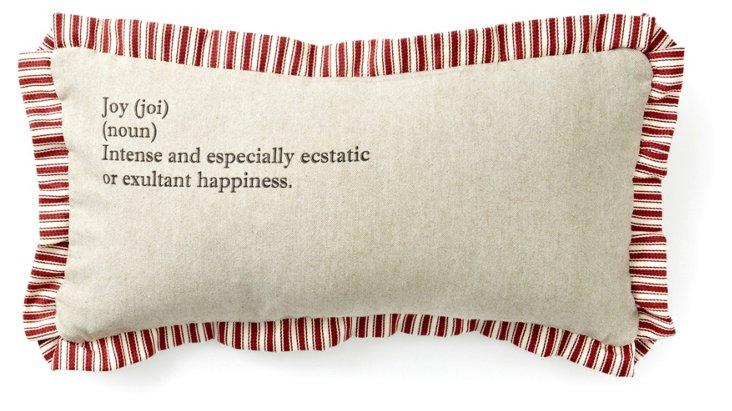 """Joy"" Definition 10x20 Pillow, Natural"