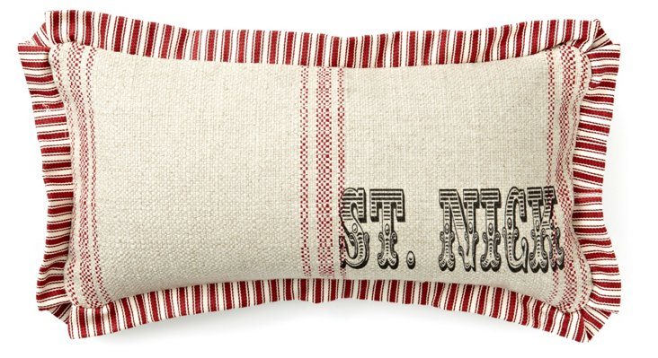 """St. Nick"" 10x20 Pillow, Natural/Red"