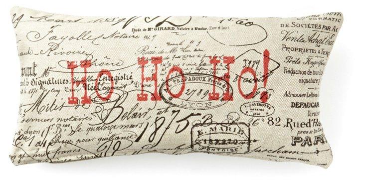 """Ho Ho Ho!"" 10x20 Pillow, Natural/Red"