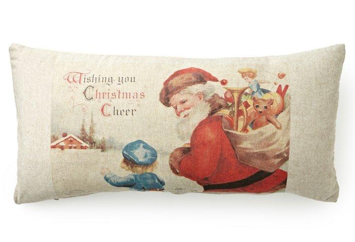 Santa Card 12x24 Pillow, Natural/Multi