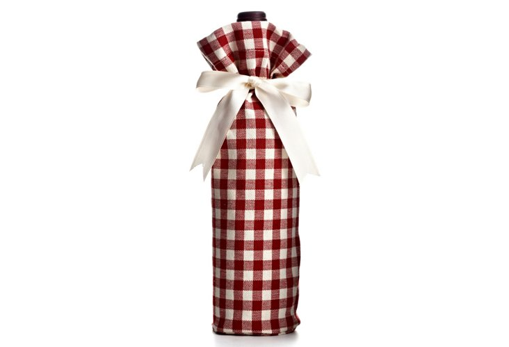Gingham Wine Bag, Red