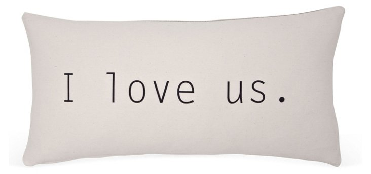 """I Love Us"" 14x24 Cotton Pillow, Ivory"