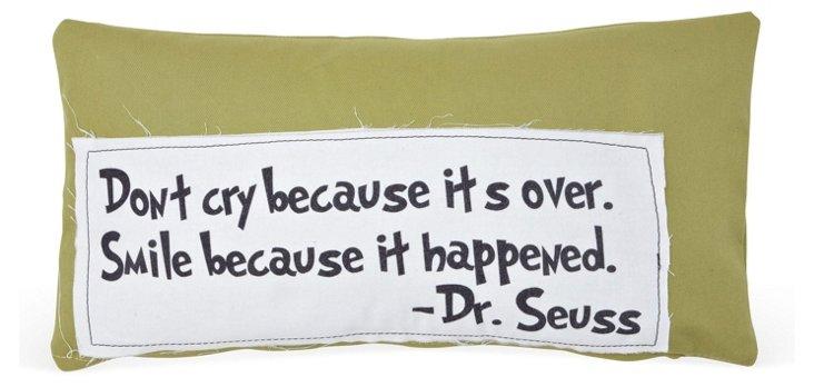 "Seuss ""Smile"" 14x24 Cotton Pillow, Green"