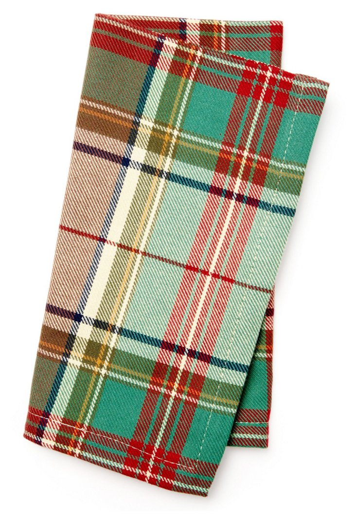 S/4 Plaid Napkins, Red/Green