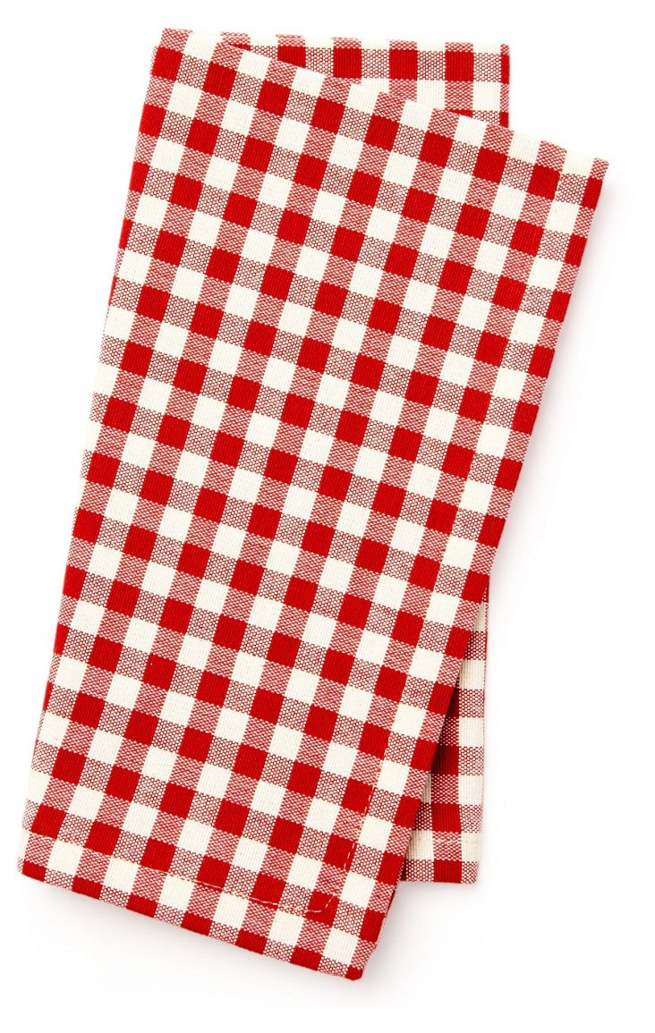 S/4 Gingham Napkins, Red