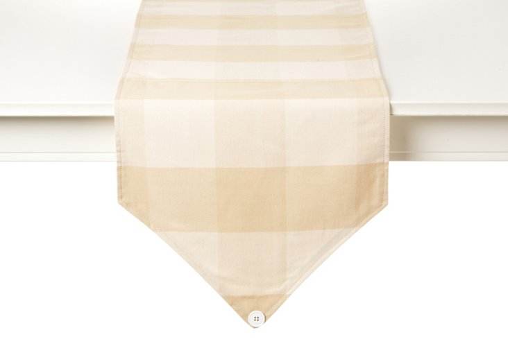 Buffalo Check Table Runner, Cream