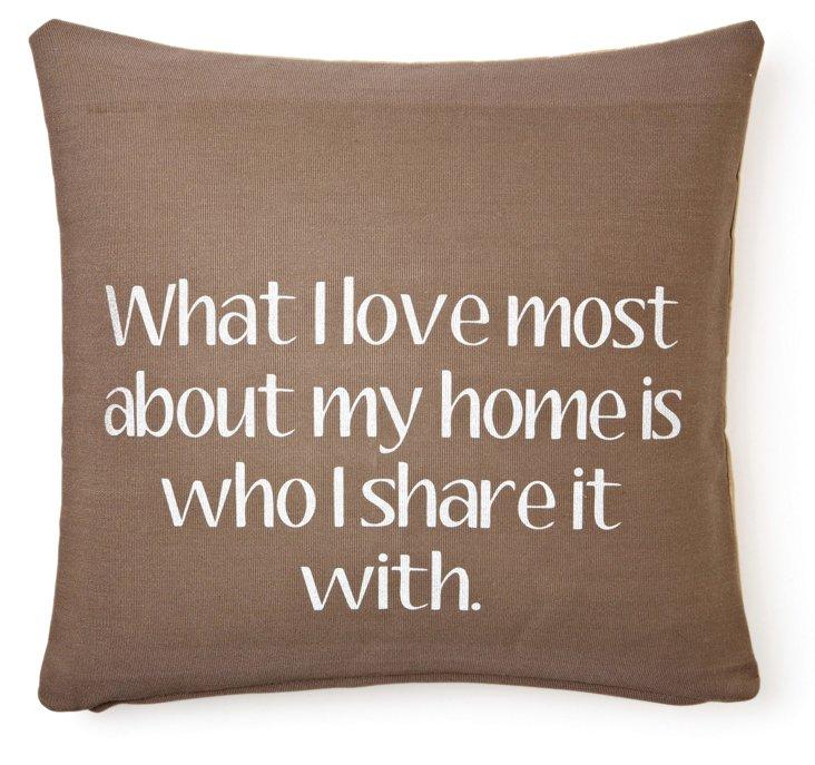 """Home"" 20x20 Cotton Pillow, Brown"