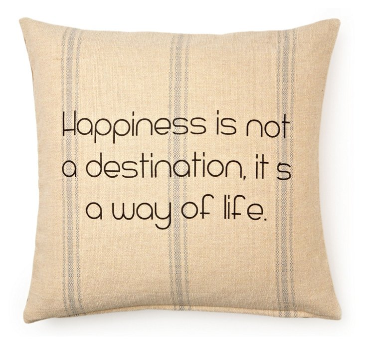 """""""Happiness"""" 20x20 Pillow, Sand"""