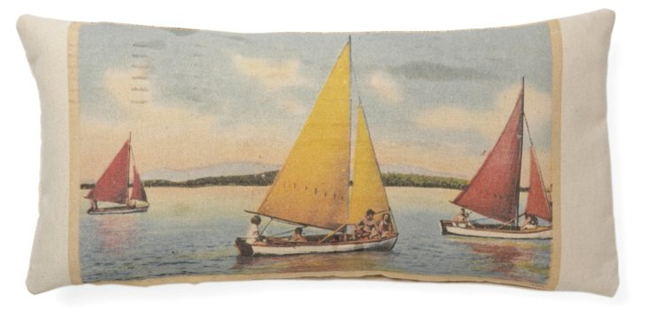 Sailboats 10x20 Cotton Pillow, Multi
