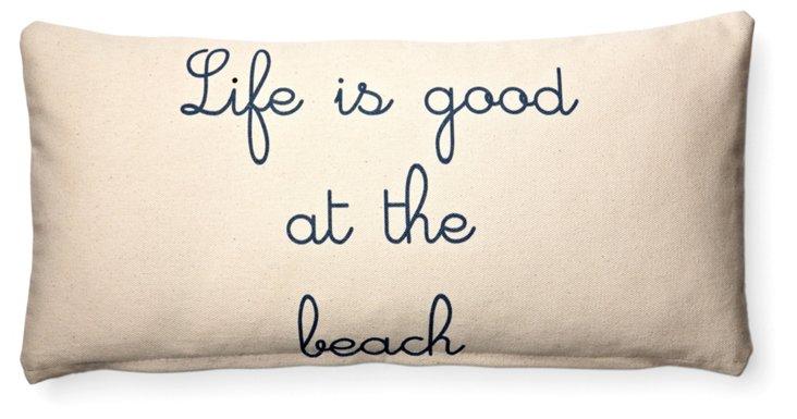 """""""Beach"""" 10x20 Cotton Pillow, Natural"""
