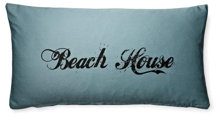 """""""Beach House"""" 12x24 Cotton Pillow, Blue"""