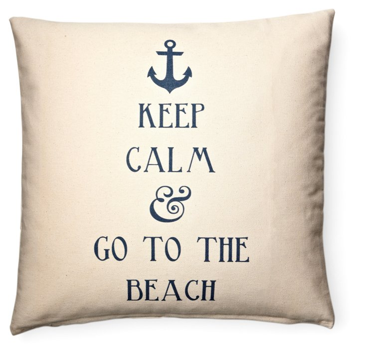 """""""Keep Calm"""" 20x20 Cotton Pillow, Ivory"""
