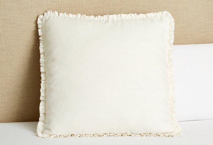 Linen Mini Ruffle Euro Sham, Cream