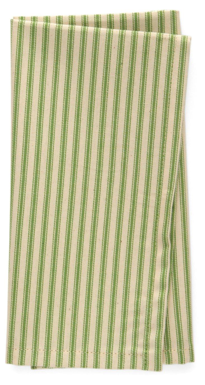 S/4 Striped Dinner Napkins, Green