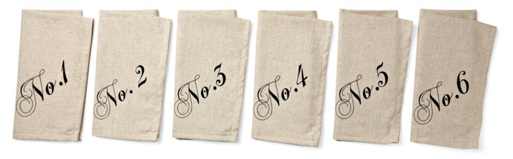 Asst of 6 Cursive Number Dinner Napkins