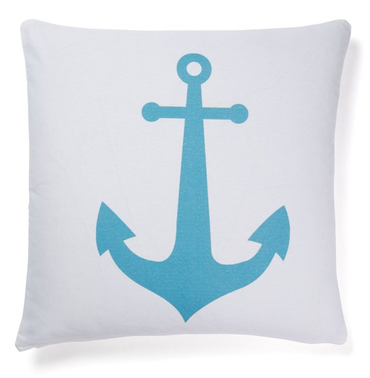 Anchor 20x20 Cotton Pillow, White/Blue