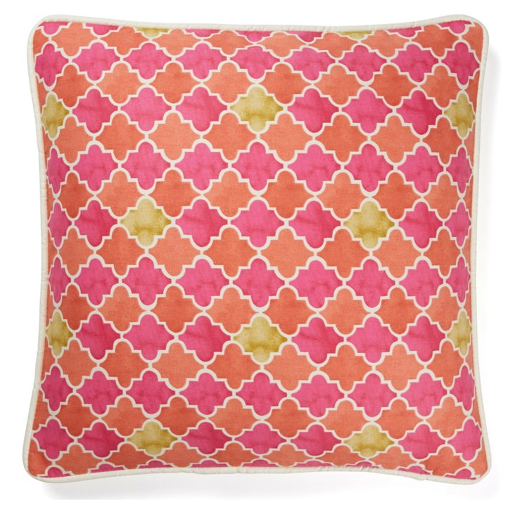 Diamond 20x20 Cotton Pillow, Pink