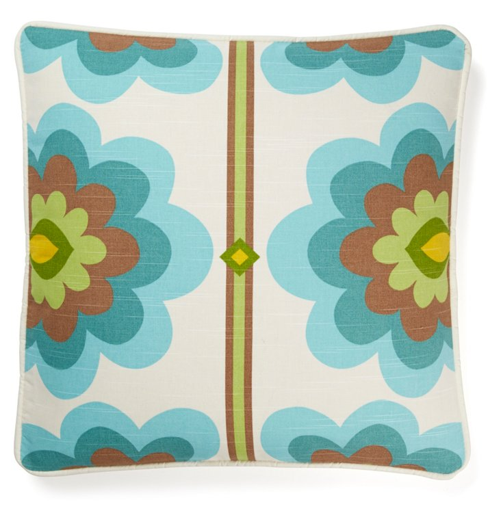 Flower 20x20 Pillow, Blue